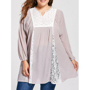 Plus Size Notched Lace Panel Pleated Peasant Top - PALE PINKISH GREY XL