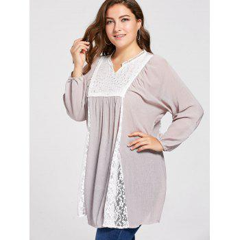 Plus Size Notched Lace Panel Pleated Peasant Top - XL XL