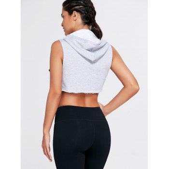 Sports Crop Hooded Tank Top - GRAY M