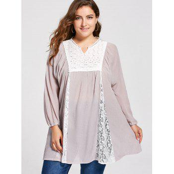 Plus Size Notched Lace Panel Pleated Peasant Top - 2XL 2XL