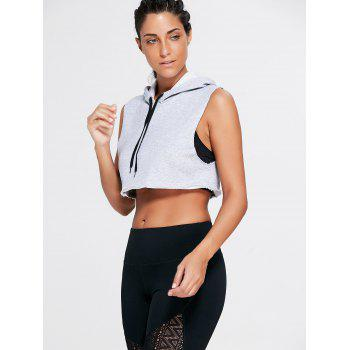 Sports Crop Hooded Tank Top - L L