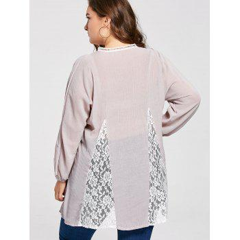 Plus Size Notched Lace Panel Pleated Peasant Top - 3XL 3XL