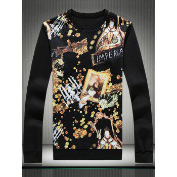 3D Gold Graphic Print Long Sleeve Sweatshirt - 3XL 3XL