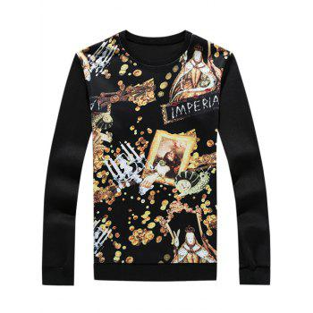 3D Gold Graphic Print Long Sleeve Sweatshirt - BLACK 3XL