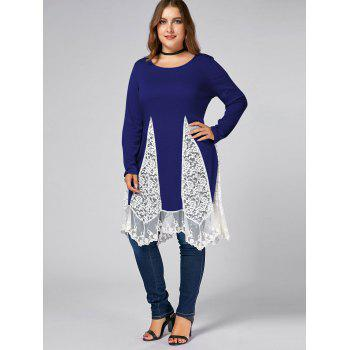 Plus Size Lace Trim Long Sleeve Swing T-shirts - BLUE BLUE