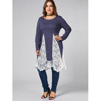 Plus Size Lace Trim Long Sleeve Swing T-shirts - BLUISH VIOLET BLUISH VIOLET