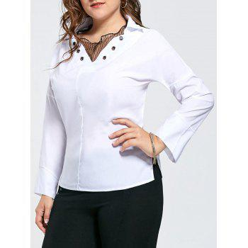 Plus Size Eyelet Long Sleeve Shirt with Voile