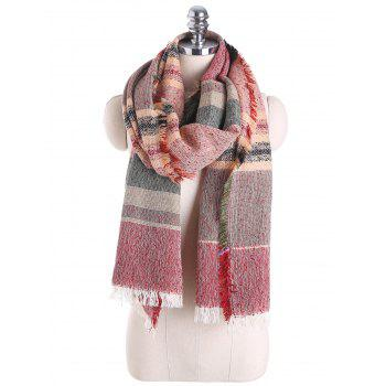 Fringed Brim Checked Cotton Blended Shawl Scarf - RED RED