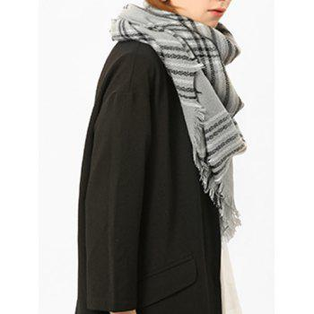 Checked Fringed Brim Cotton Blended Shawl Scarf - GRAY