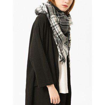 Checked Fringed Brim Cotton Blended Shawl Scarf - BLACK BLACK