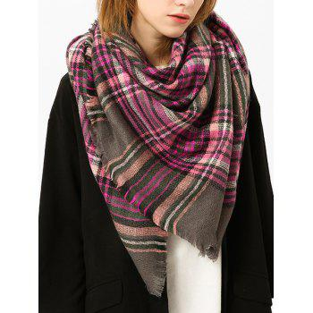 Checked Fringed Brim Cotton Blended Shawl Scarf - PURPLE PURPLE