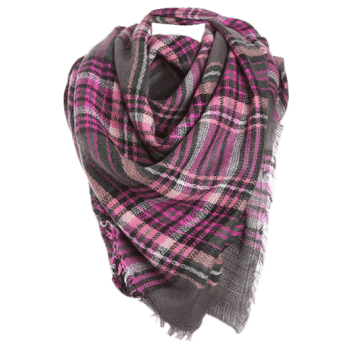 Checked Fringed Brim Cotton Blended Shawl Scarf -  PURPLE