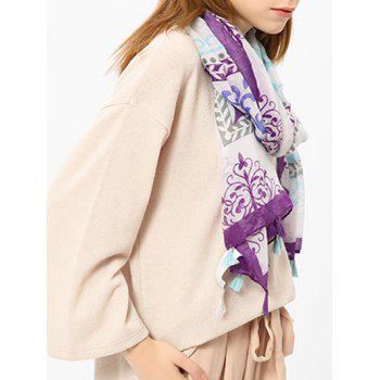 Retro Ombre Floral Shawl Scarf with Tassels -  PURPLE