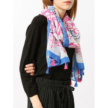 Retro Ombre Floral Shawl Scarf with Tassels -  BLUE