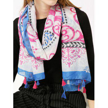 Retro Ombre Floral Shawl Scarf with Tassels - BLUE BLUE