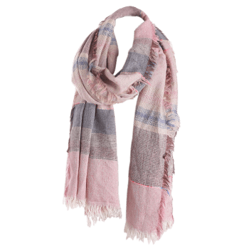 Fringed Brim Checked Cotton Blended Shawl Scarf -  LIGHT PINK
