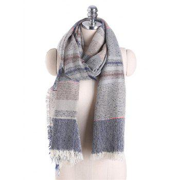 Fringed Brim Checked Cotton Blended Shawl Scarf - GRAY GRAY