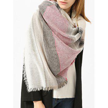 Fringed Brim Checked Cotton Blended Shawl Scarf - WHITE WHITE