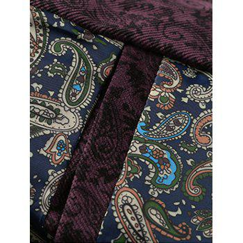 Zip Up PU Leather Panel Floral Velvet Jacket - WINE RED WINE RED