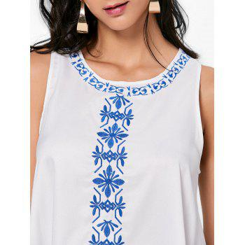 Flower Embroidered A Line Summer Dress - L L