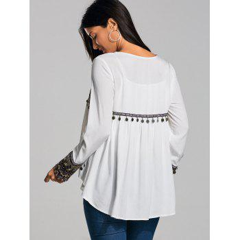 Coin Pendant Ethnic High Low Smock Blouse - WHITE 2XL