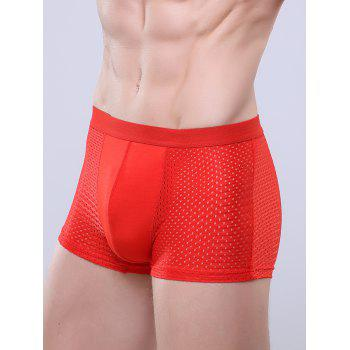 U Convex Pouch Openwork Boxer Brief - RED RED