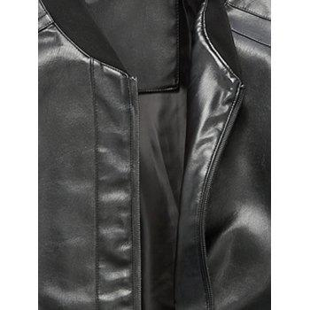 Rib Panel Faux Leather Zip Up Jacket - L L