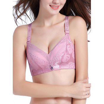Jacquard Strap Lace Push Up Bra - LIGHT PINK 75B