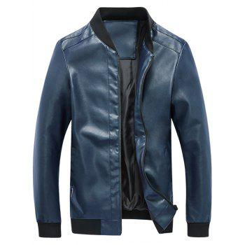 Rib Panel Faux Leather Zip Up Jacket - BLUE 5XL