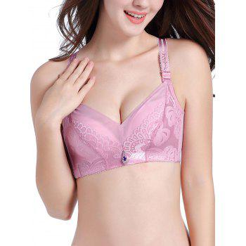 Jacquard Strap Lace Push Up Bra - LIGHT PINK 90B