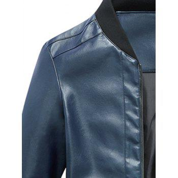 Rib Panel Faux Leather Zip Up Jacket - 3XL 3XL