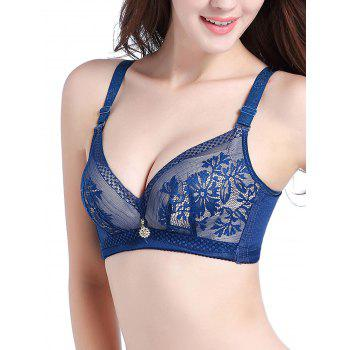 Plunge Lace Push Up Bra - BLUEBELL 75B