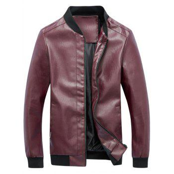 Rib Panel Faux Leather Zip Up Jacket - RED 3XL