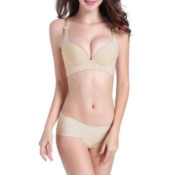 Pinstripe Seamless Push Up Bra Set - 80A 80A