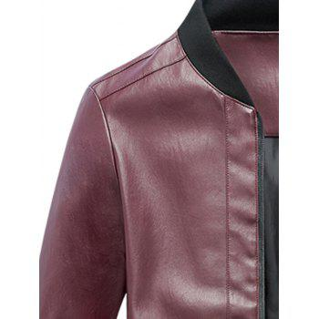 Rib Panel Faux Leather Zip Up Jacket - RED L
