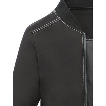 Stand Collar Applique Zip Pocket Jacket - BLACK BLACK