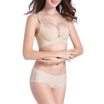 Pinstripe Seamless Push Up Bra Set - 70B 70B