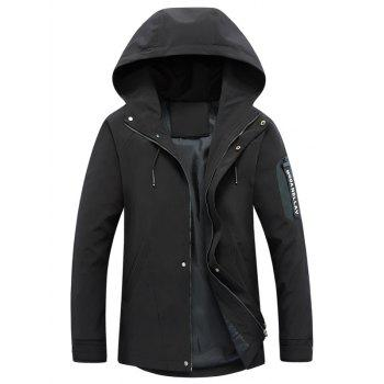Hooded Drawstring Graphic Braid Jacket - BLACK BLACK