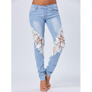 Lace Panel Staright Light Wash Jeans - BLUE BLUE