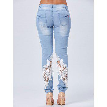 Lace Panel Straight Light Wash Jeans - BLUE M