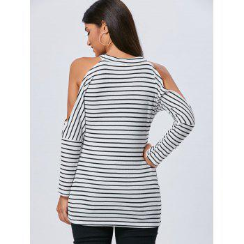 Striped Cold Shoulder Long Sleeve Tunic Top - M M