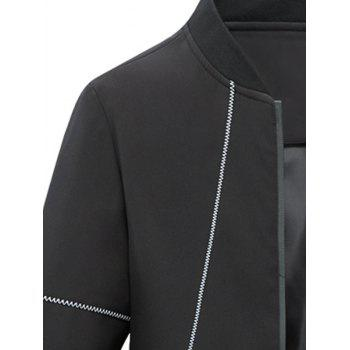 Stand Collar Zip Up Suture Panel Jacket - BLACK BLACK