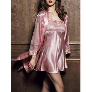 Satin Embroidered Slip Dress with Robe