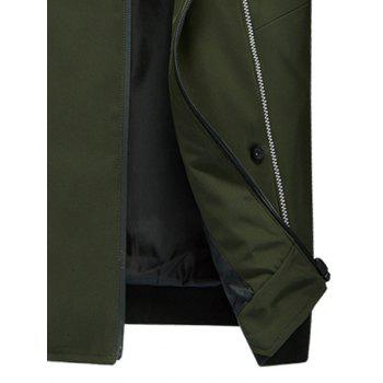 Stand Collar Zip Up Suture Panel Jacket - Vert Armée 2XL