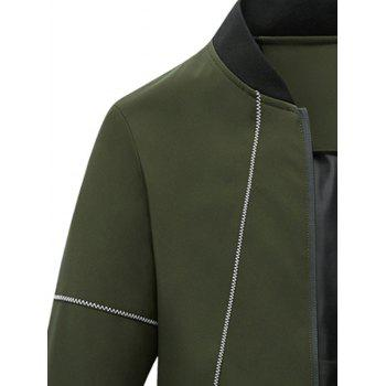 Stand Collar Zip Up Suture Panel Jacket - Vert Armée XL