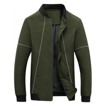 Stand Collar Zip Up Suture Panel Jacket - ARMY GREEN L