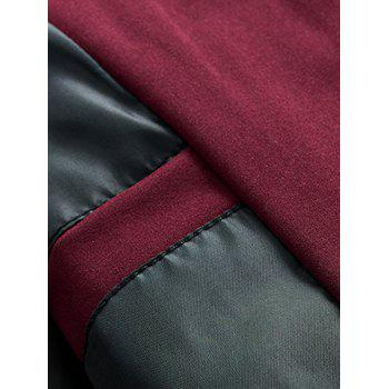 Stand Collar Zip Up Suture Panel Jacket - Rouge 5XL