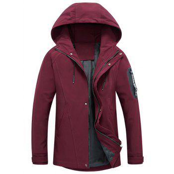 Hooded Drawstring Graphic Braid Jacket - RED L