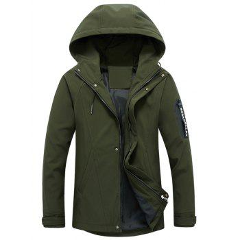 Hooded Drawstring Graphic Braid Jacket - ARMY GREEN 5XL