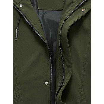 Hooded Drawstring Graphic Braid Jacket - ARMY GREEN 2XL